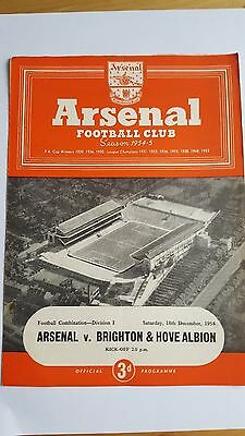 Arsenal Reserves V Brighton & Hove Albion 18.12. 1954 - Football Combination