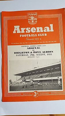 Arsenal Reserves V Brighton @ Hove Albion 29.8. 1953 Football Combination Cup