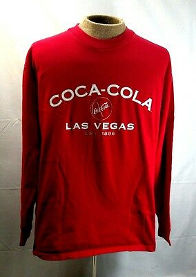 Coca Cola mens t shirt xl long sleeve cotton Las Vegas made in USA red