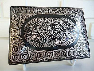 Persian Steel Trinket Box With Silver Inlay Vintage