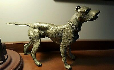 Vintage Statue America Staffordshire Terrier,  Pit Bull, Brass Over White Metal