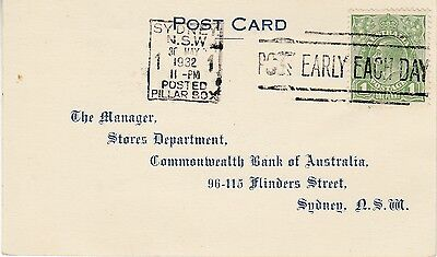 1932 Sydney postcard of acknowledgement of order, with KGV 1d