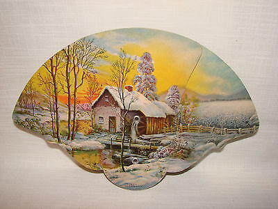 Vintage Advertising Pull Out Folding Hand Fan Christmas Winter Scene