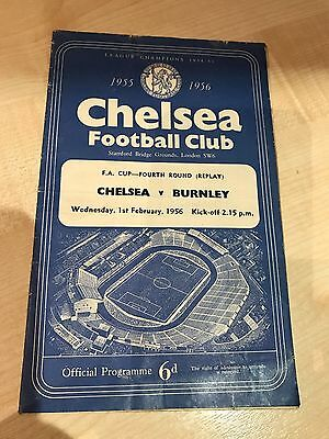 CHELSEA v BURNLEY  FA Cup 4th Round 1st February 1956 official programme