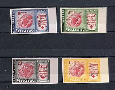 s12276) GUINEA MNH** Nuovi** 1963, Red Cross Centenary 4v, imperforated