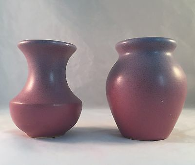 """Pair Broadmoor Pottery 4"""" Cabinet Vases - Pink with Blue Overspray"""