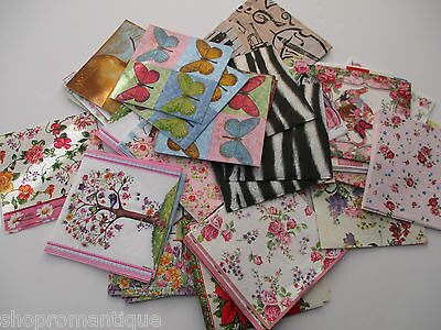 67 x JOB LOT/MIXED LOT COCKTAIL SIZE PAPER NAPKINS some damaged - DECOUPAGE