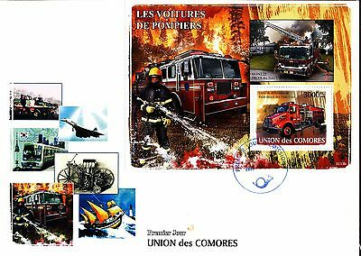 Fire Trucks Fire Engines Firefighters S/s 2009 Comoro Fdc