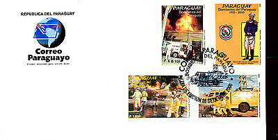 Fire Trucks Fire Engines Firefighters 2000 Paraguay Fdc