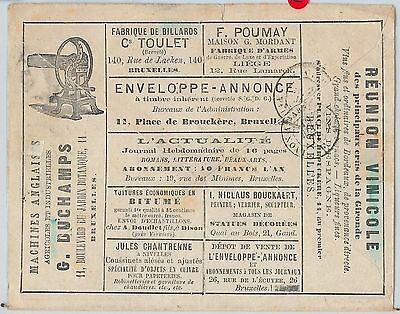 57880 - BELGIUM - POSTAL HISTORY Advertising COVER: WINE  billiards LITTERATURE