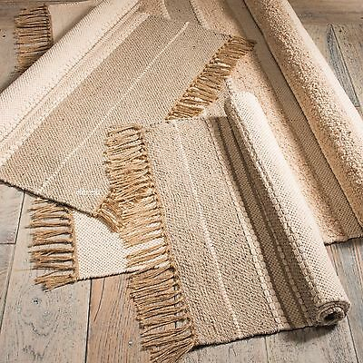 Fair Trade Soft Cotton Jute Slub Weave Rug Beige Natural Tone Fringed 3 Sizes