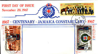 Constabulary Traffic Police Motorcycle Horse Dog 1967 Jamaica Fdc