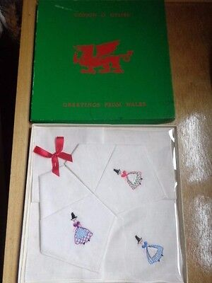 VINTAGE BOXED LINEN HANDKERCHIEFS A GIFT FROM WALES originally cost 7/6d
