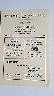 Dartford V Ramsgate Athletic 27.1. 1962- Southern League