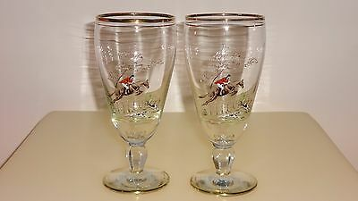 Vintage 1950's/60's Fox Hunting Themed Painted Tall Drinking Glasses X 2 - Mint!