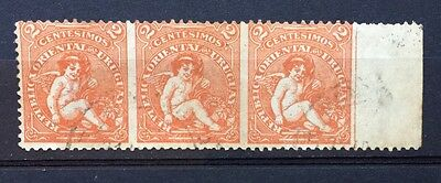 Uruguay 1904-05 Early Issue Fine Used 2c Strip Of 3