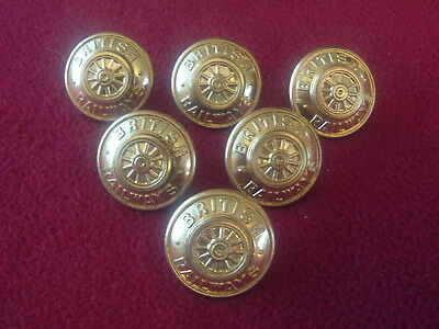 Set of Six British rail Uniform Buttons by Gaunt of London.