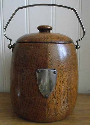A Lovely Antique Vintage Chrome Handled Wooden Biscuit Barrel With China Insert