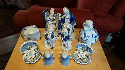 Blue And White Figures