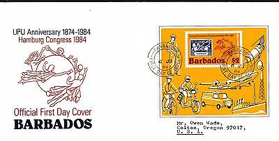 Upu Congress Postman Mail Delivery Motorcycle S/s Barbados Fdc