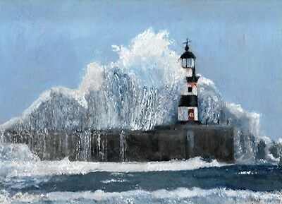 Original Acrylic Painting Seaham Lighthouse During A Storm S W Ward Ma Fine Art