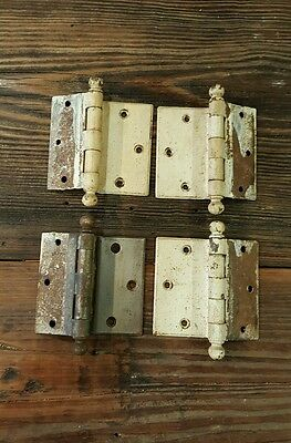 (4) Vtg Shabby Rusty Country Primitive Off Set Cannon Ball Door Hinges 3 1/2 ""