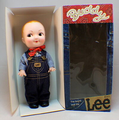 """Vintage Buddy Lee Doll 13"""" Tall Overalls Advertising new in original box"""