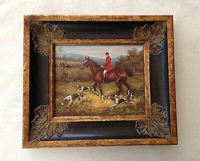 ORIGINAL SIGNED ART W. THOMAS OIL PAINTING Horse Hunting Foxhounds Dogs Fox Hunt