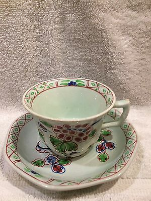 Adams Old Now Calyx Ware Hand Painted Tea Cup And Plate.
