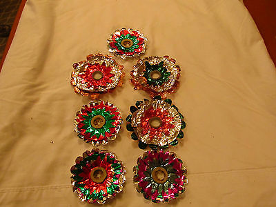 7 Antique German Foil Christmas Light  Reflectors.