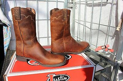 40-119 New Justin mens  Stampede Rugged Tan Cow 10.5D  western boots was 129.00