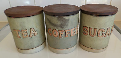 Tremar Pottery Tea Coffee And Sugar Cannisters