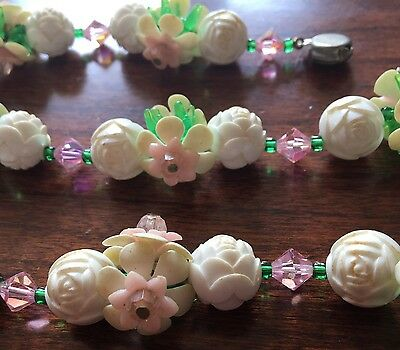 Vintage Beaded Necklace Floral - Needs Minor Repair - 24 Inches Long!!