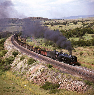 SOUTH AFRICAN RAILWAYS SAR 6x6 colour transparency 333607 15F 4-8-2 Karee Bank