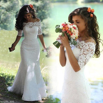New White/Ivory Lace Wedding Dress Bridal Gown Size 4 6 8 10 12 14 16 18 20