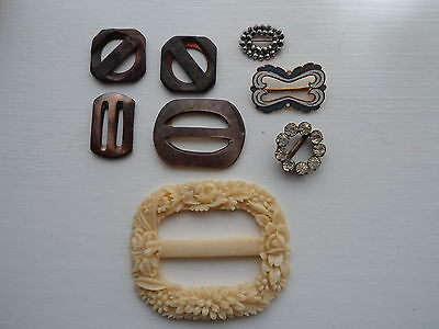 Fine Collection Of Antique Vintage Buckles Cut Steel Enamel Mother Of Pearl