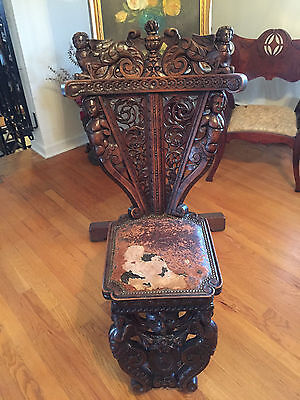 Antique  19th Century Italian Renaissance Carved Walnut Hall Chair ~ Restoration