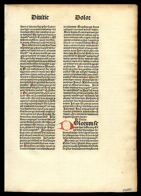 1481 Rare Incunable Leaf Flos Theologiae Theology Dominicans Franciscan Oxford