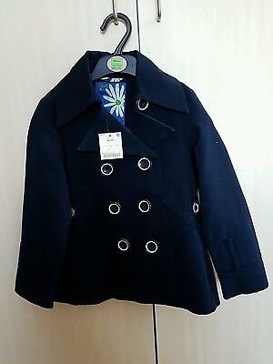 Girls navy coat fron Next. 5-6 Brand New