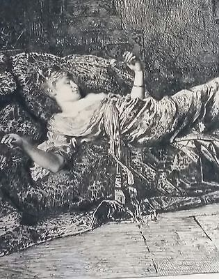 "Antique Pen & Ink Art (?)     ""Woman Lazing on Couch"""