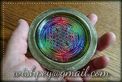 Lemurian crystal rainbow flower of life copper charging plate