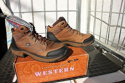 41-22 New Justin WOMENS size 8.5M distressed brown western boots Waterproof