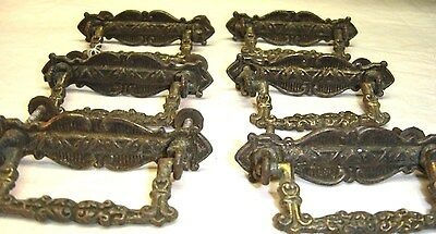 Set of Six (6) Antique Cast Brass Drawer Pulls 9103