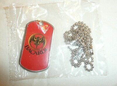 NEW SEALED - Bacardi Metal Dog Tag w/ Chain - Necklace