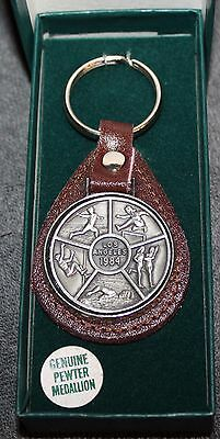 Vintage 1984 Los Angeles Olympic Key Chain Pewter Medallion On Leather