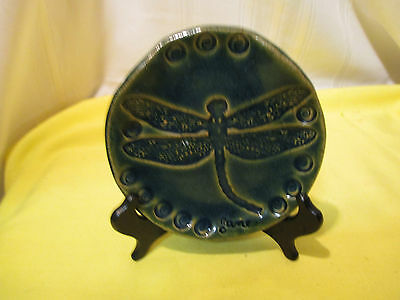 Vintage Dragonfly Designed Small Pottery Plate. 5 inches diameter