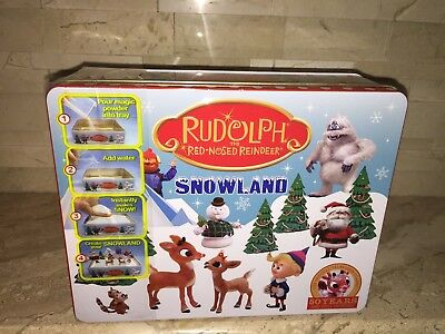 Rudolph The Red Nosed Reindeer Snowland Tin With 19 Character Stakes