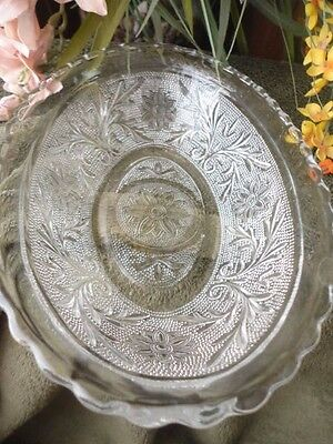 Anchor Hocking Clear Sandwich Glass Oval Serving Bowl 8-1/2in Vintage