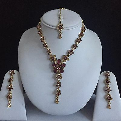 Maroon Gold Indian Costume Jewellery Necklace Earrings Crystal Diamond Set New