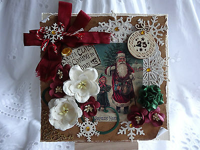 Luxury 3D Hand Made Vintage Santa & Bell Christmas Card Topper